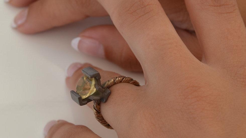 Citrin Ring, Contemporary Ring, Modern Designer Ring,
