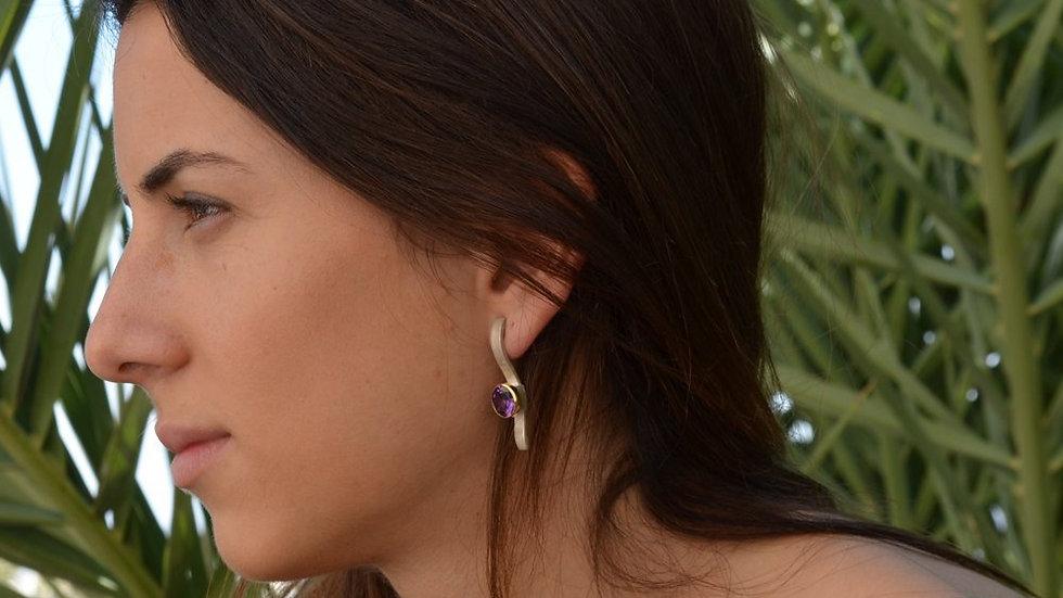 Contemporary Metal Earrings, June Birthstone Earrings,