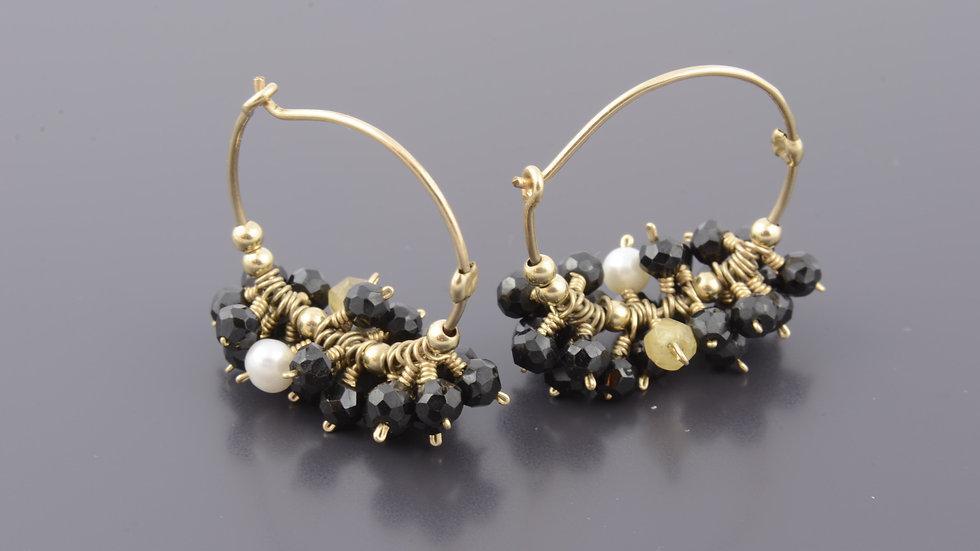 Black Cluster Earring