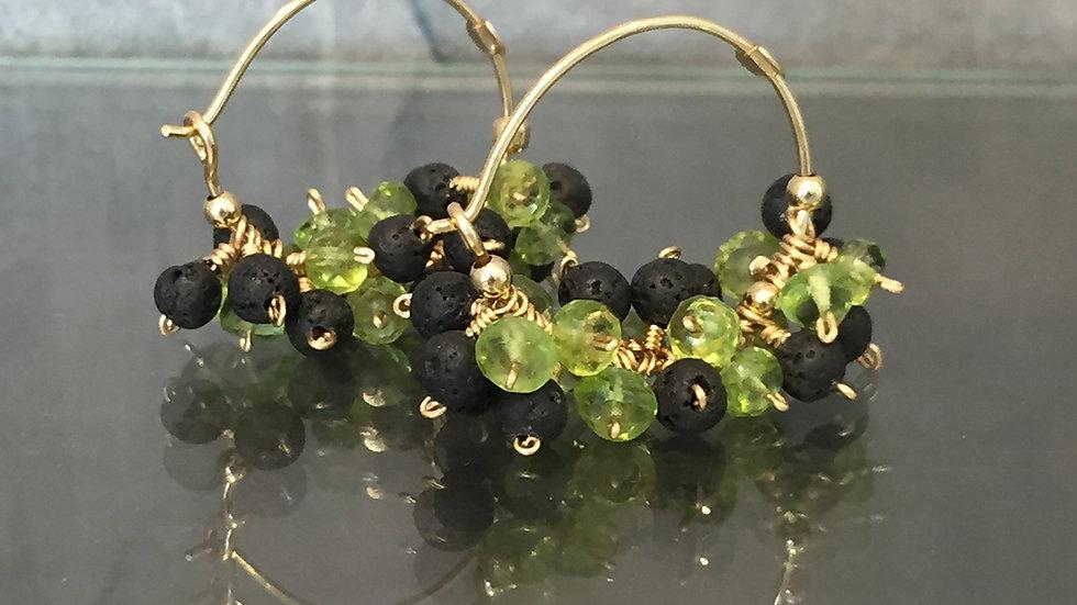 SALE.Peridot and Lava Earrings. August Birthstone.