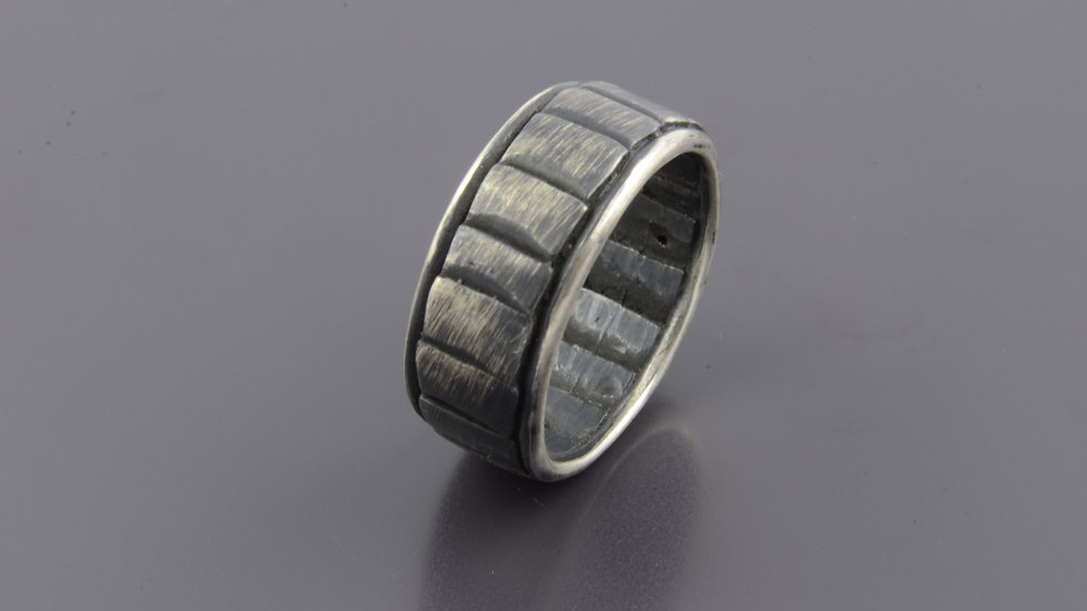 Black silver stairs Ring
