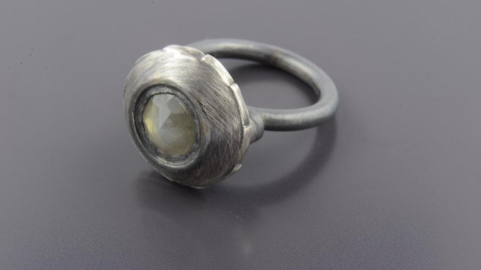 Black  silver Ring with labradoreit stone