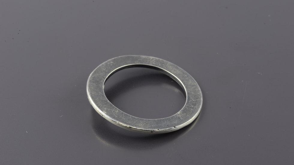 Black flat silver Ring