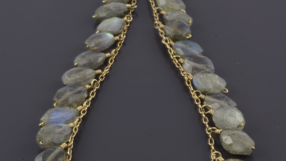Gold Filled Necklace with Labradoreit Gemstones