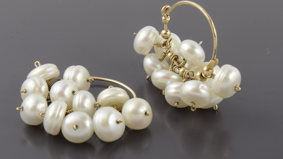 Cluster White Pearl Earrings