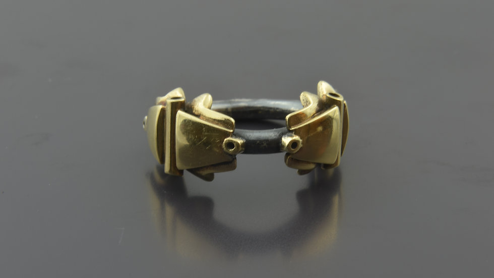 14k Gold and Black Silver Ring