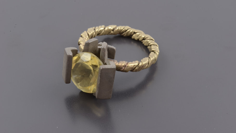 Gold and black silver Ring with citrine