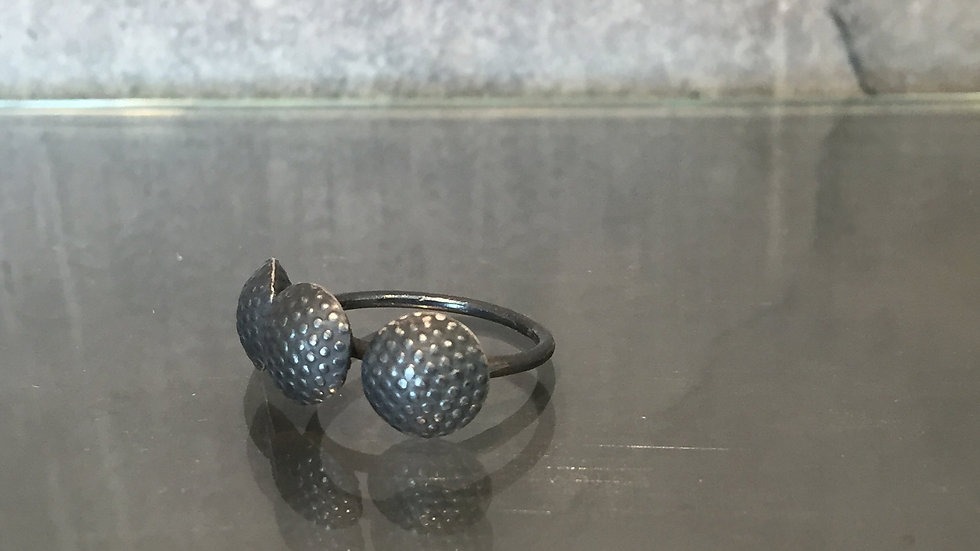 Boho oxidized silver ring, Contemporary chic jewelry ring,