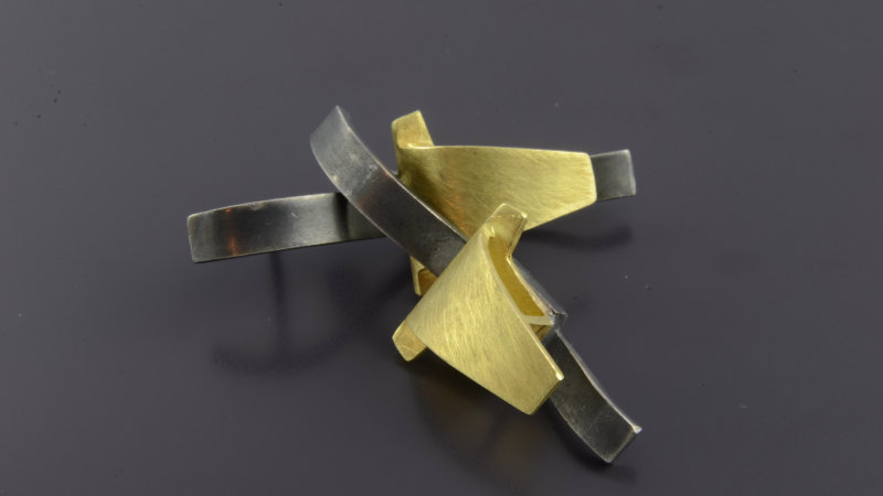 Black silver and 18k Yellow Gold Earrings