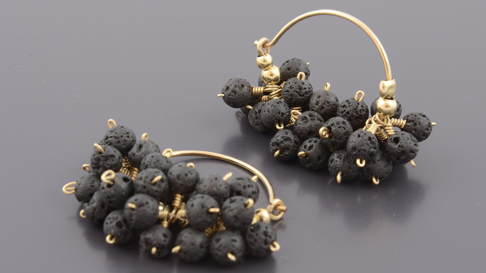 Michelle Sebbag | Black lava Cluster Earrings