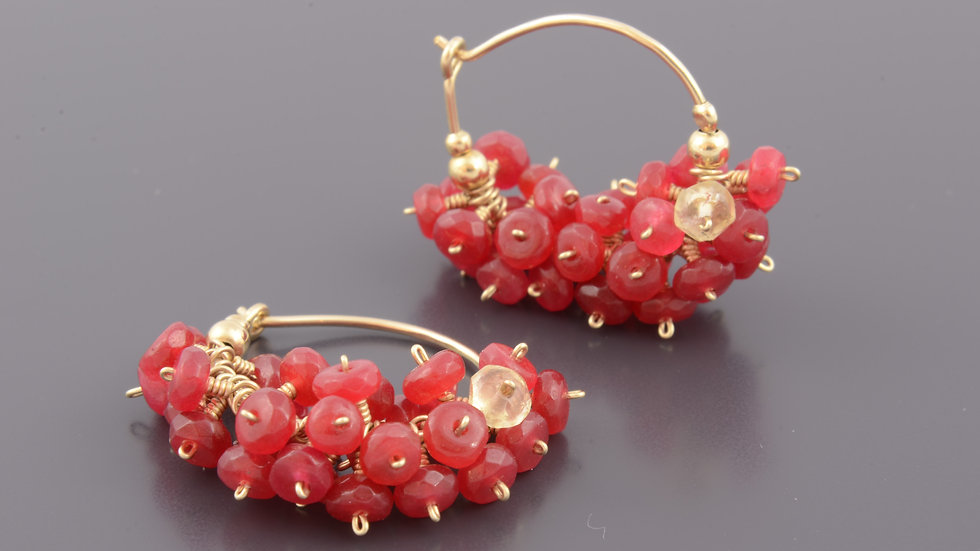 Red Gold Filled Cluster Earrings