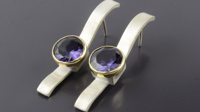 Gold and silver Earrings with alexandrite stone