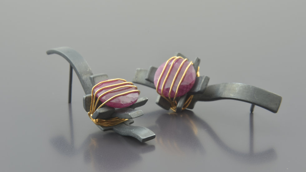 Black Silver Earrings With Ruby Gemstone