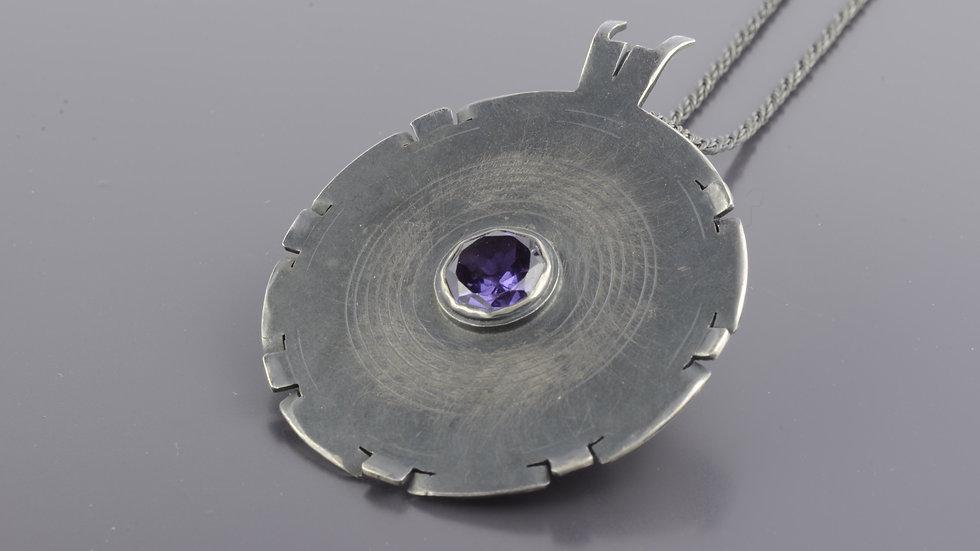 Black silver Pendant with alexandrite stone