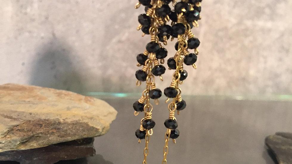 SALE. Onyx Jewelry. Long Earrings. Birthday  Earrings .