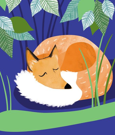 Fox under green foliage