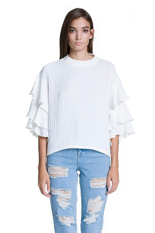 Ruffle Sleeve White Top