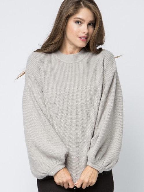 Grey Sweater with Balloon Sleeve