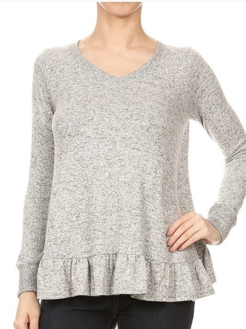 Soft Grey Top with Ruffle Back