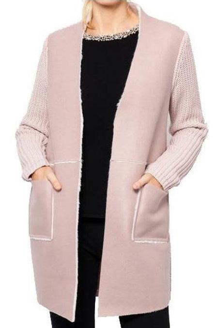 Pink Faux Fur Sweater Jacket