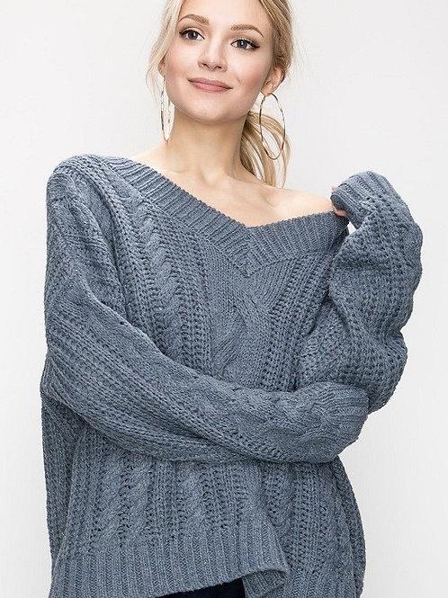 Steel Blue V-Neck Sweater