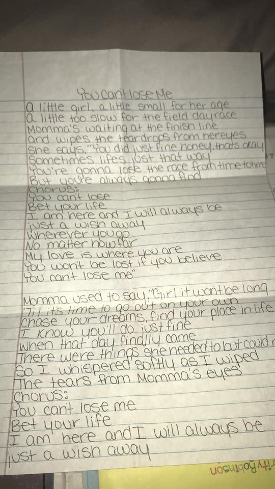 Alissa wrote out the lyrics of this song in a letter to her best friend Charity Thompson. Although the song references the relationship between a mother and her daughter, Alissa wanted Charity to know that despite the fact that Michael Turney forbade the girls from seeing each other, she would always love her.