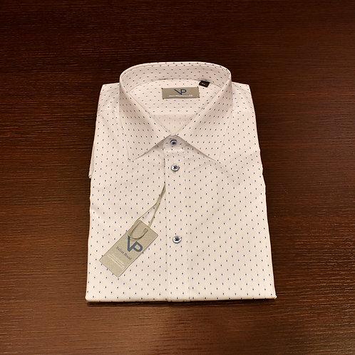 Camicia microfantasia bianca e blu