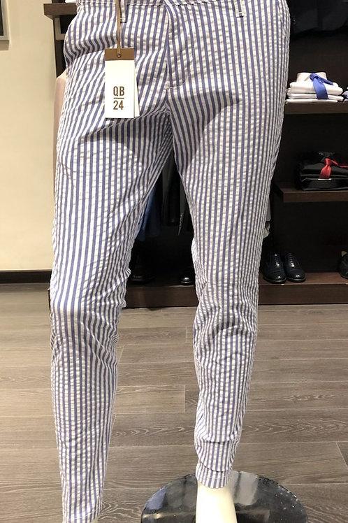 Pantaloni chinos rigati cotone seersucker 2 colori