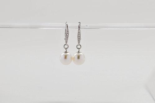 14K White Gold Diamond Leverback White Akoya Pearl Earrings
