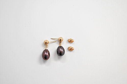 7.5mm Black Drop Freshwater Pearl Earrings
