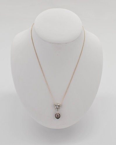 Twist Design Tahitian Pearl Pendant