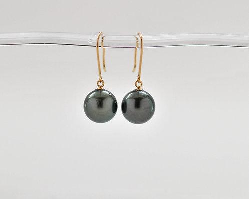 9-10mm Black Tahitian Dangle Pearl Earrings
