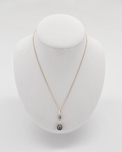 Floral Design Tahitian Pearl Pendant