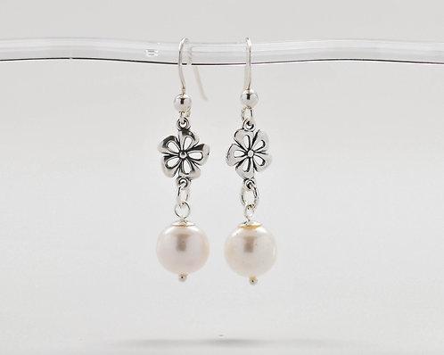 White Freshwater Pearl Floral Earrings