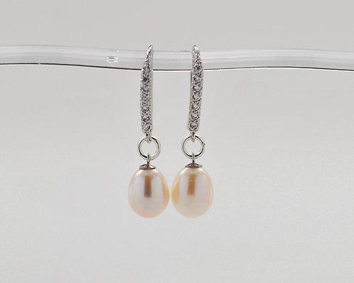 7.5-8mm White Freshwater Drop Pearl Earrings