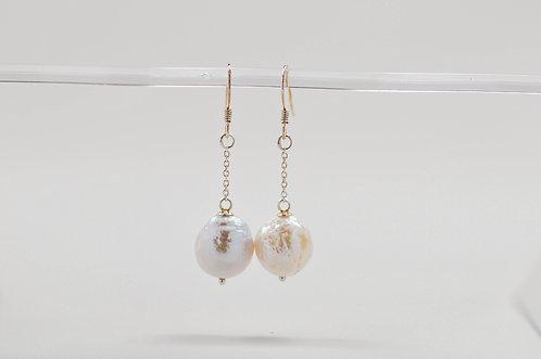 11-12mm White Wrinkle Chandelier Earrings