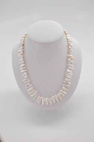"22"" ""Biwa-Like"" White Freshwater Pearl Necklace"