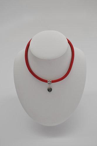 """16"""" Tahitian Pearl Pendant in Red Italian Leather Cord"""