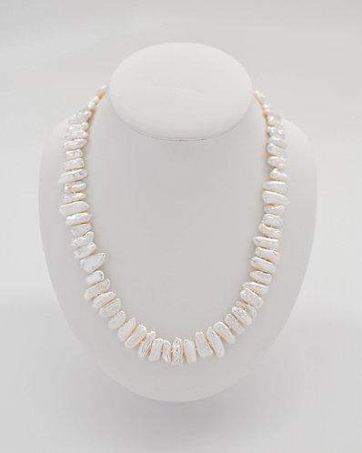 "21"" ""Biwa-Like"" White Freshwater Pearl Necklace"