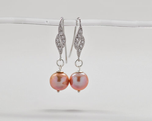 11-12mm Pink Edison Pearl Earrings