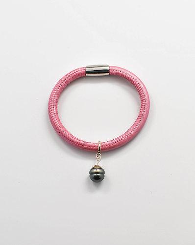 Italian Leather Tahitian Pearl Pink Bracelet