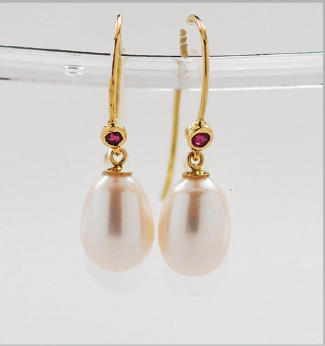 White Drop Pearl Dangle Earrings with Faceted Rubies