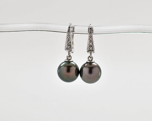 10mm Black Tahitian Dangle Pearl Earrings