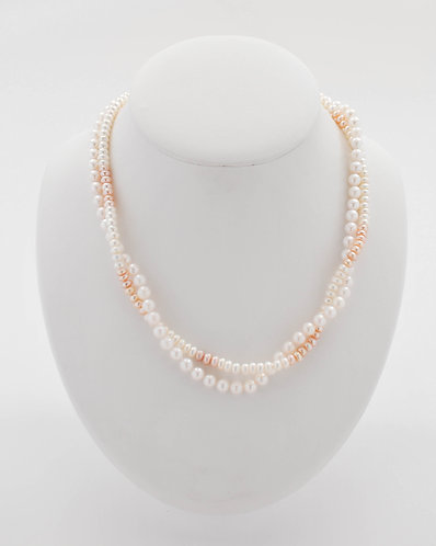 """18"""" Double Strand Bicolor Freshwater Pink and White Necklace"""