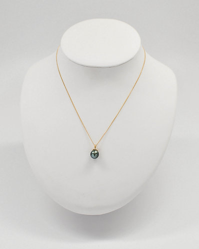 14K Gold Tahitian Pearl Pendant with Thin Star Design