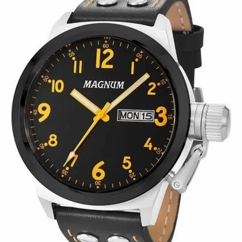 Relógio Masculino Magnum Prateado Pulseira Couro