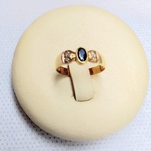Anel em Ouro 18k com Safira Azul e Brillhantes