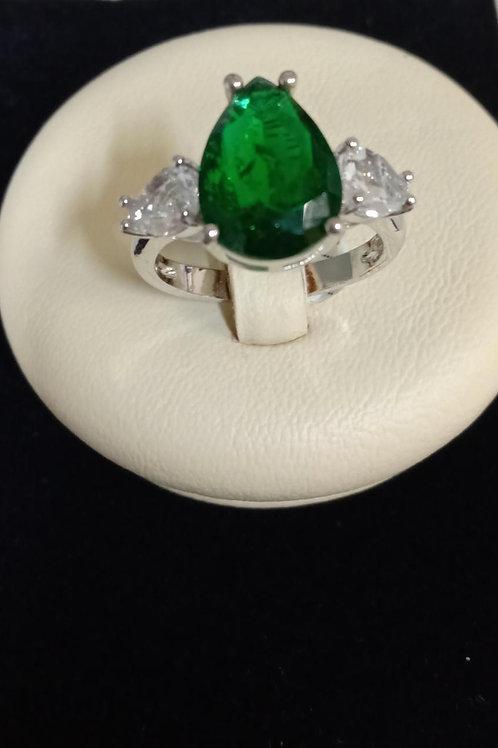Anel Folheado com pedra Verde e Branca