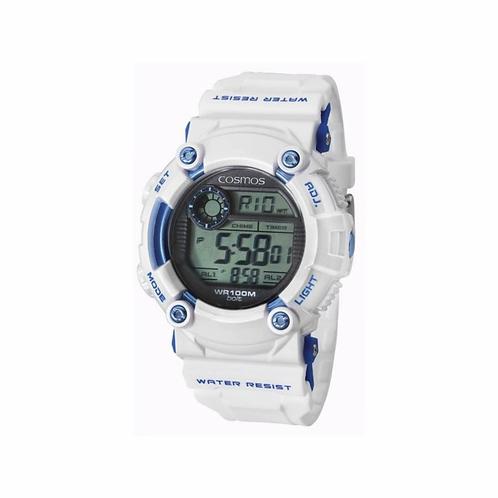 Relógio Esportivo Cosmos Digital Branco Cronometro OS41388B