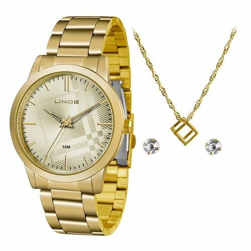 Relógio Lince LRG4554L KV00 feminino dourado mostrador dourado